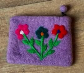 Étui Vilt lila uit Nepal