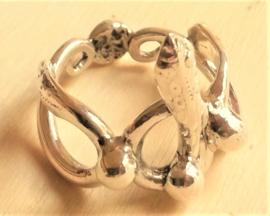 Zilveren slang ring mt 18
