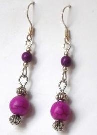 Boucles d'oreilles en argent  violette