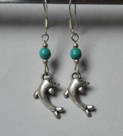 Boucles d'oreilles Dauphin et Turquoise