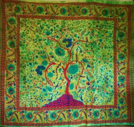 Grand Foulard Levensboom groen - horizontaal