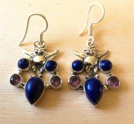 Oorbellen Uil met Lapis Lazuli