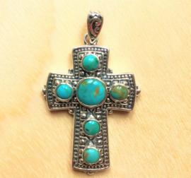 Keltisch Heilig kruis hanger zilver met Turkoois
