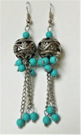 Boucles d`oreilles tibétaines turquoises