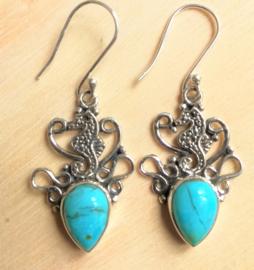Boucles d'oreilles Turquoise avec hippocampe