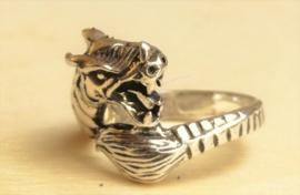 Ring draak zilver