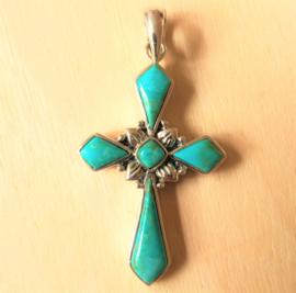 Pendentif croix Turquoise en argent