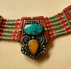Tibetaanse halsketting Turkoois