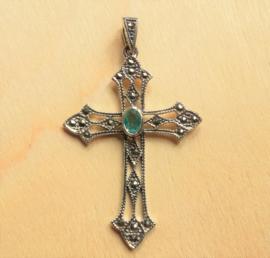 Kruis hanger zilver met Topaas