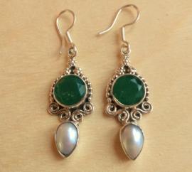 Boucles d'oreilles calcédoine et perle