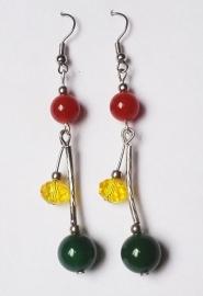Tibetaanse oorbellen met Carneool en Jade kraal