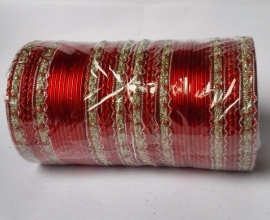 Indiase bangle armband rood - zilver