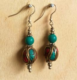 Boucles d'oreilles Tibet Turquoise et Corail