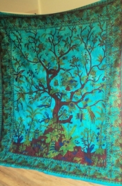 Grand foulard Tree of life blauw - verticaal