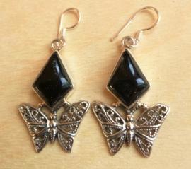 Boucles d'oreilles papillon Onyx