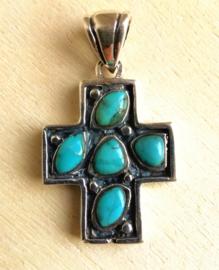 Pendentif Croix Turquoise