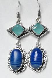 Boucles d`oreilles Agate bleue
