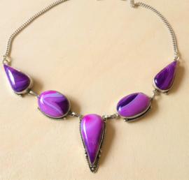 Collier Agate violette en argent
