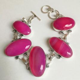 Bracelet en argent et Agate rose
