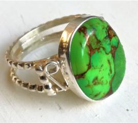 Bague en Argent et Turquoise Verte