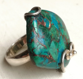 Ring chrysocolla  zilver