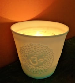 Porte-lumière  porcelaine  chakra 7
