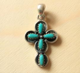 Pendentif croix Argent et Turquoise