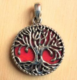 Levensboom hanger Zilver/Koraal