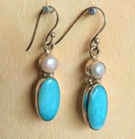 Boucles d'oreilles  Larimar et Perle
