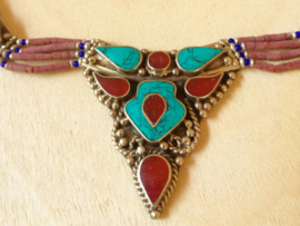 Collier Tibet Turquoise et Corail