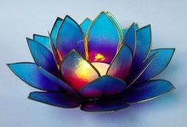 Lotus theelichthouder blauw indigo