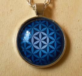 Amulette Fleur de Vie bleu