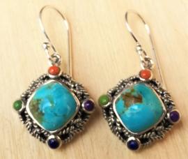 Boucles d'oreilles argent avec Turquoise