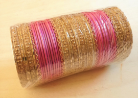 Indiase bangle armbanden  roze/goud