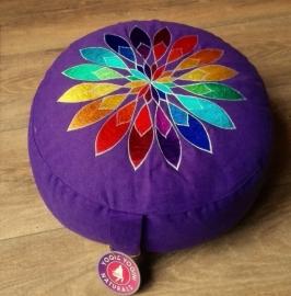 Meditatiekussen paars met bloem