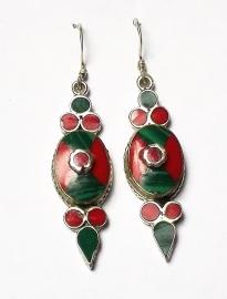 Boucles d'oreilles Tibet Malachite et Corail