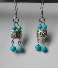 boucles d'oreilles tibétaines bleues