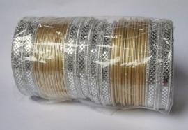 Indiase bangle armbanden zilver/goud