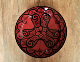 Plat de poterie marocaine rouge