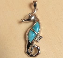 Zeepaardje hanger zilver met Larimar