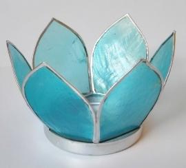 Theelicht lotus Capiz schelp  blauw