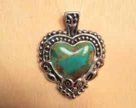 pendentif coeur en argent - turquoise