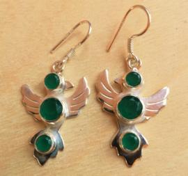 Duif oorbellen Smaragd - zilver