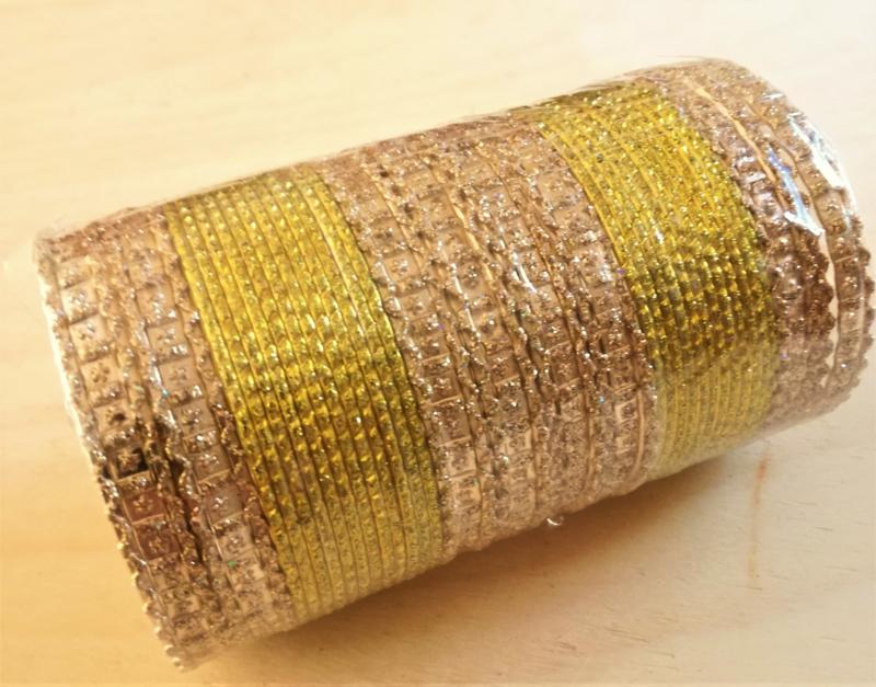 Indiase bangle armband geel - goud