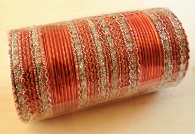 Indiase bangle armbanden oranje / zilver
