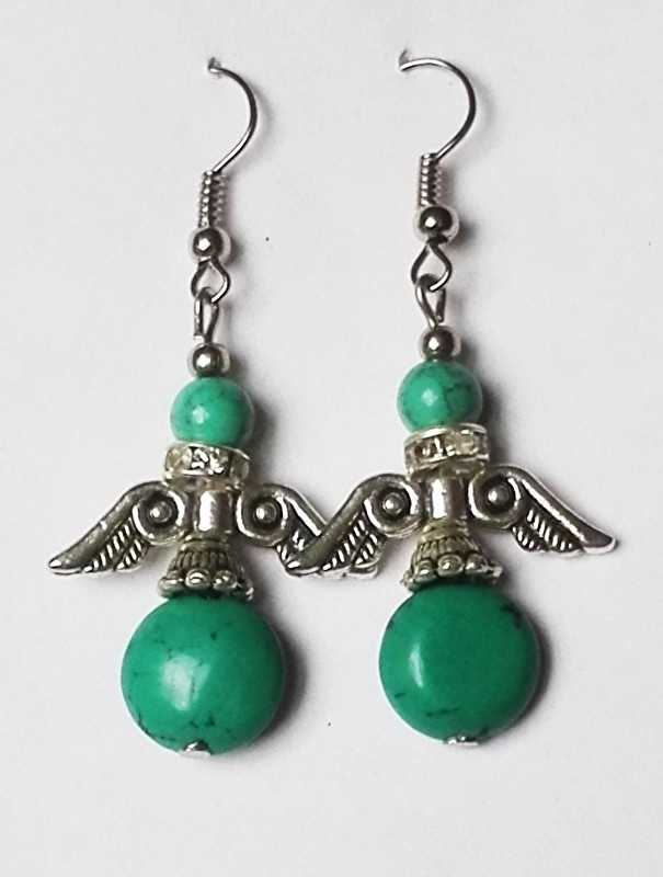 Tibetaanse oorbellen Engel Turkoois