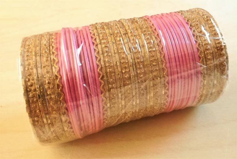 Indiase Bangle Armbanden roze / goud