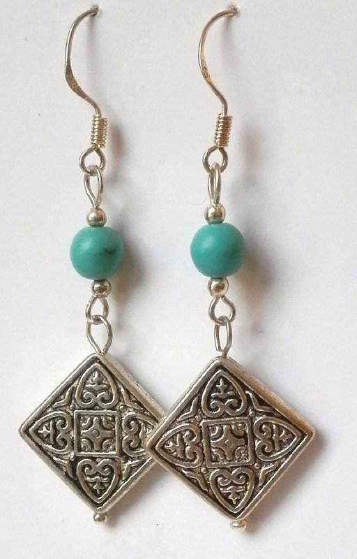 Oorbellen Tibetaans zilver turkoois