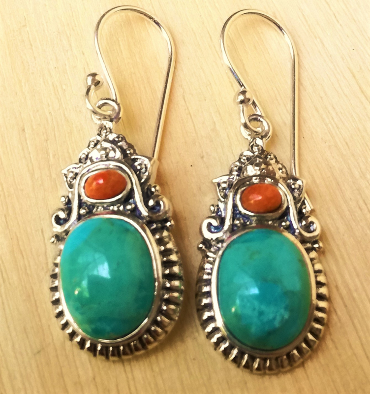 Zilveren oorbellen Turkoois