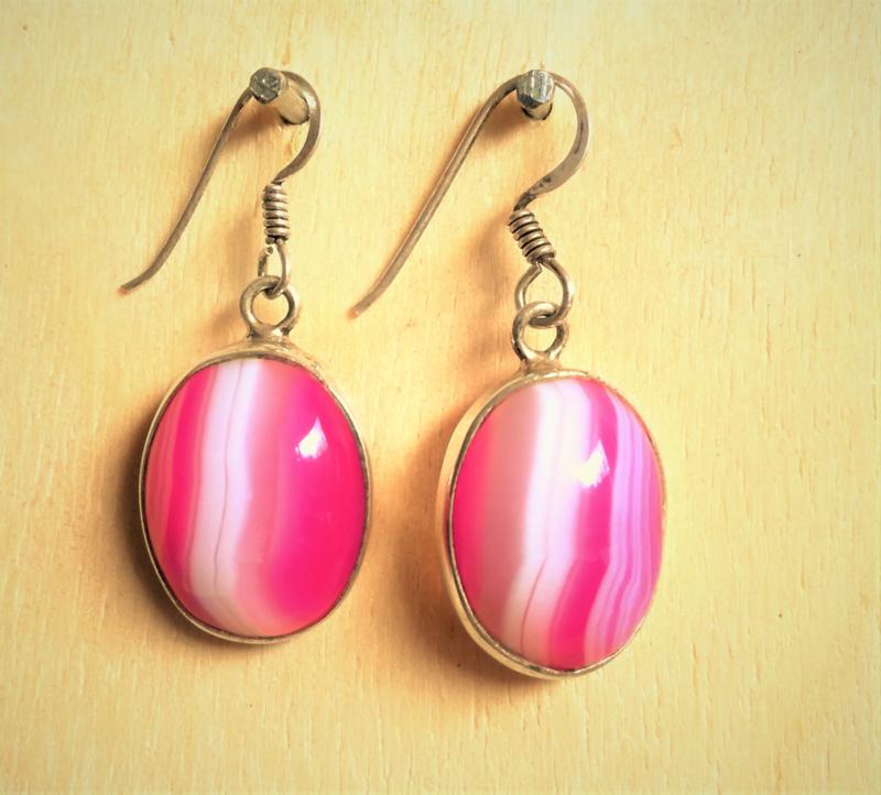Oorbellen Agaat roze